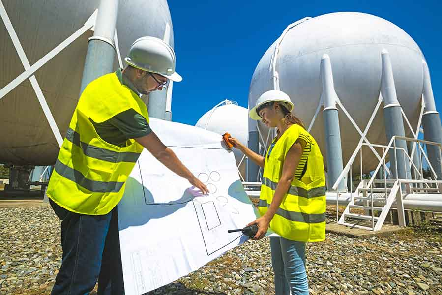 ammonia storage tanks decommissioning consultants looking at blueprint