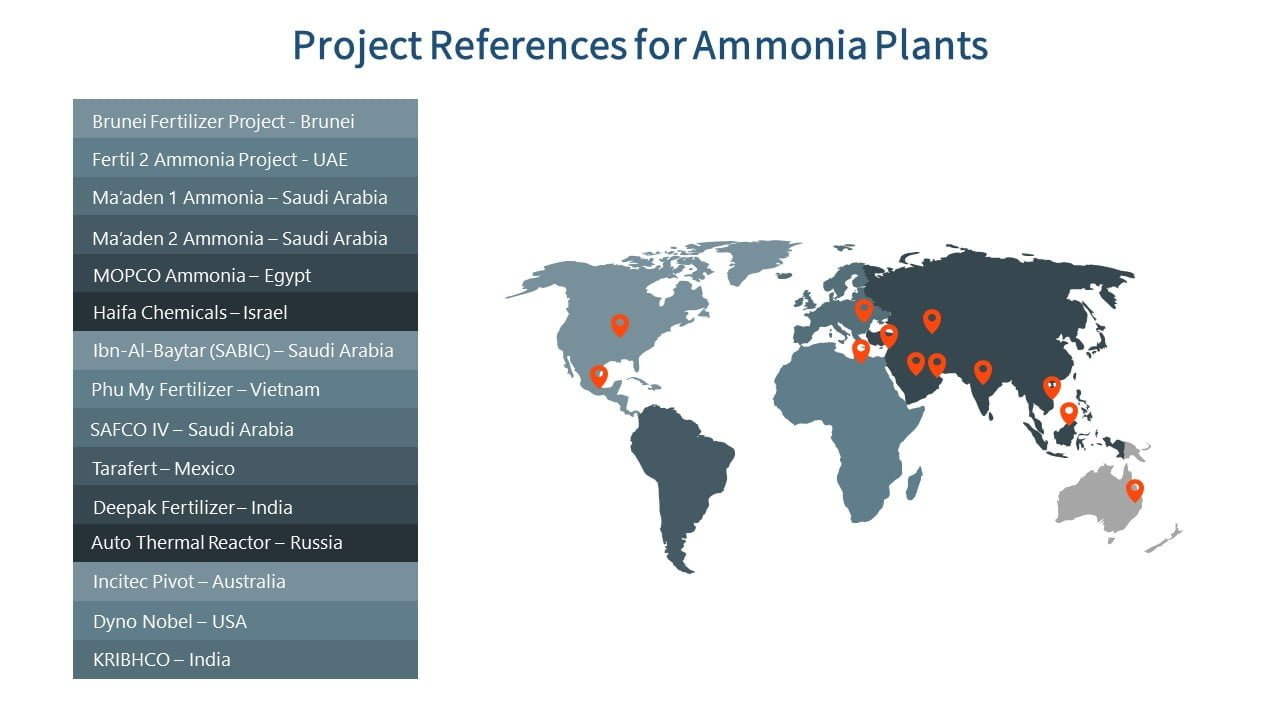 ammonia urea nitric acid ammonium nitrate owner's engineer - Globe map with pins for ammonia plants projects references